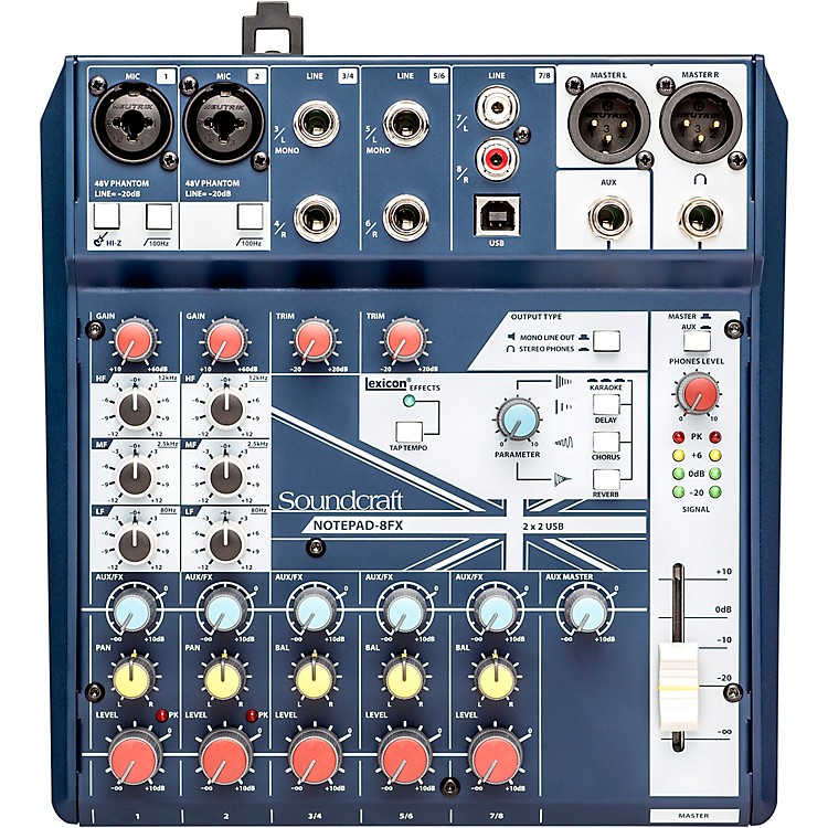 SoundcraftNotepad-8FX Small Format 8 Channel Analog Mixer w/ USB I/O & Effects