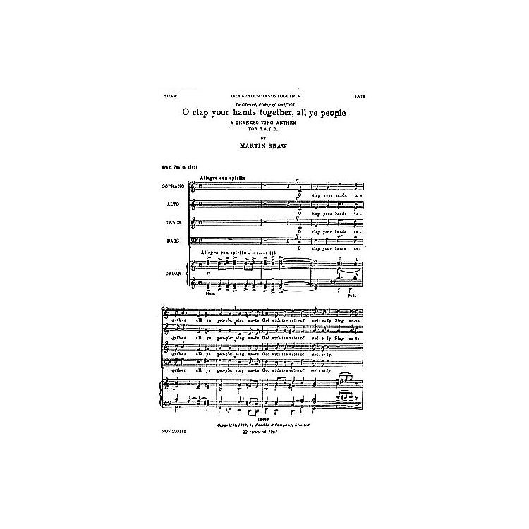 NovelloO Clap Your Hands Together, All Ye People SATB Composed by Martin Shaw