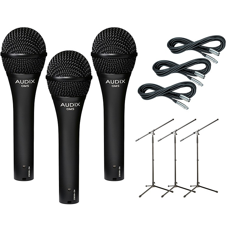 AudixOM-5 Mic with Cable and Stand 3 Pack