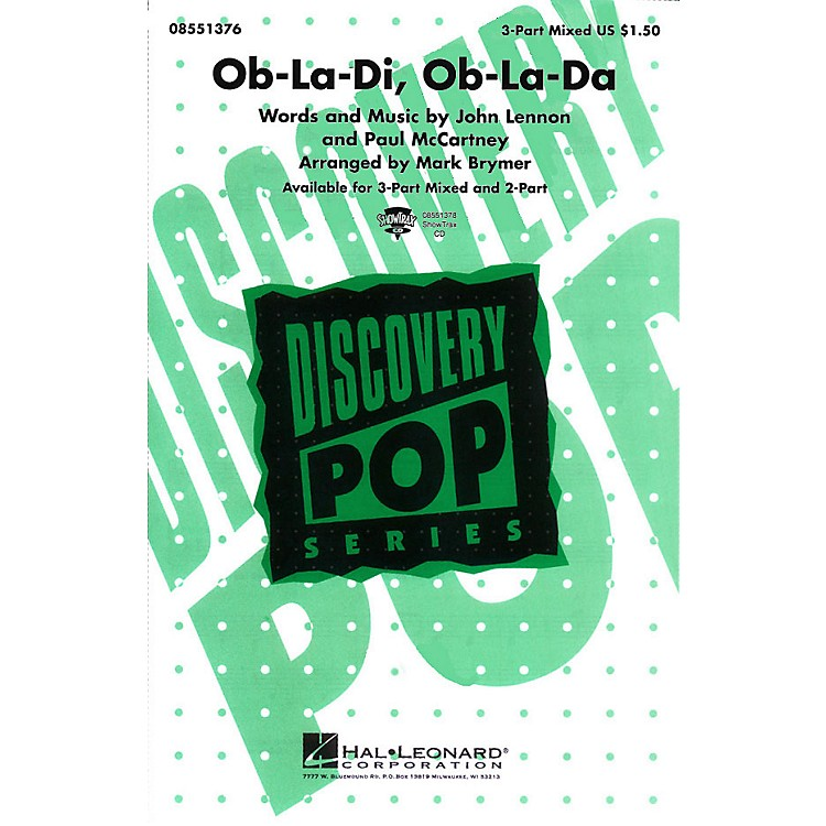 Hal LeonardOb-La-Di, Ob-La-Da 3-Part Mixed arranged by Mark Brymer