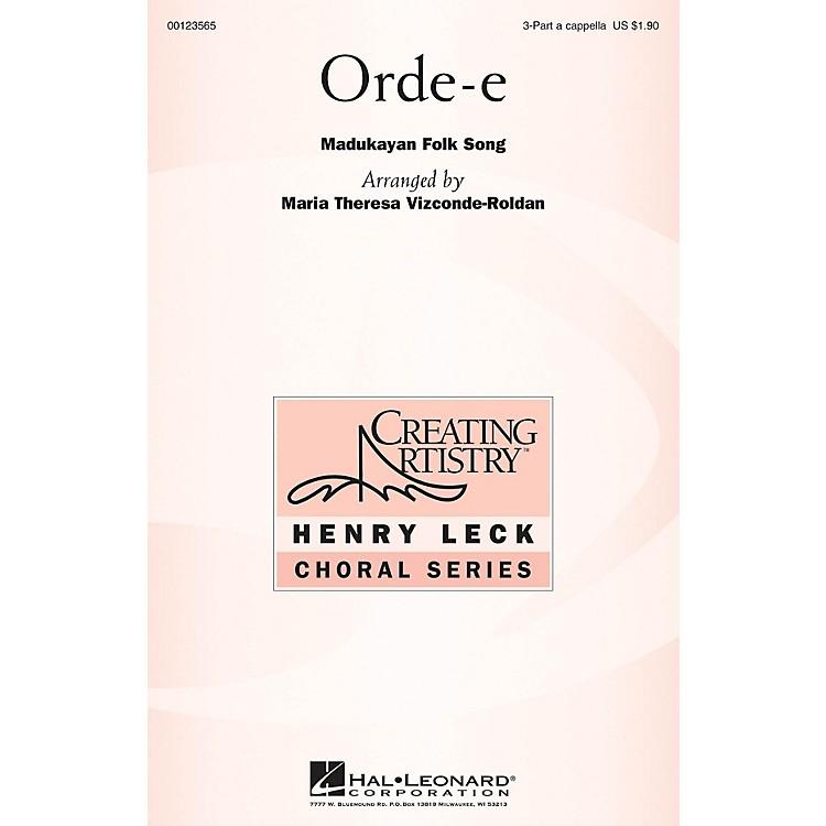 Hal LeonardOrde-e 3 Part Treble A Cappella arranged by Maria Theresa Vizconde-Roldan