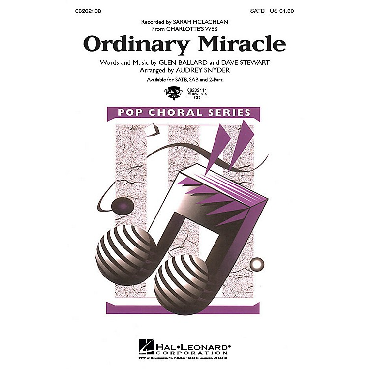 Hal Leonard Ordinary Miracle (from Charlotte's Web) 2-Part by Sarah McLachlan Arranged by Audrey Snyder