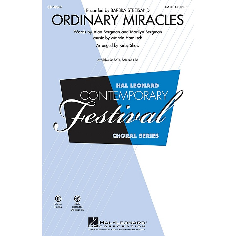 Hal Leonard Ordinary Miracles (SAB) SAB by Barbara Streisand Arranged by Kirby Shaw