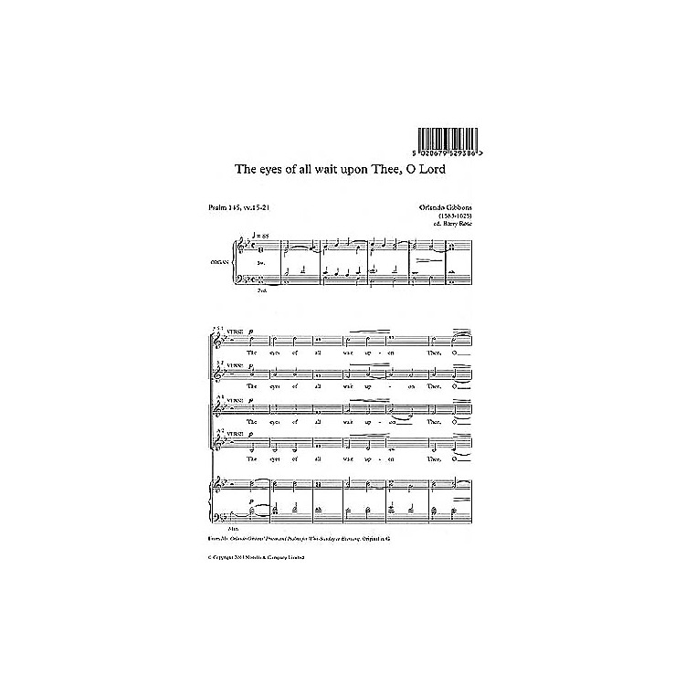 Music SalesOrlando Gibbons: The Eyes Of All Wait Upon Thee, O Lord (Ed. Barry Rose) Music Sales America Series