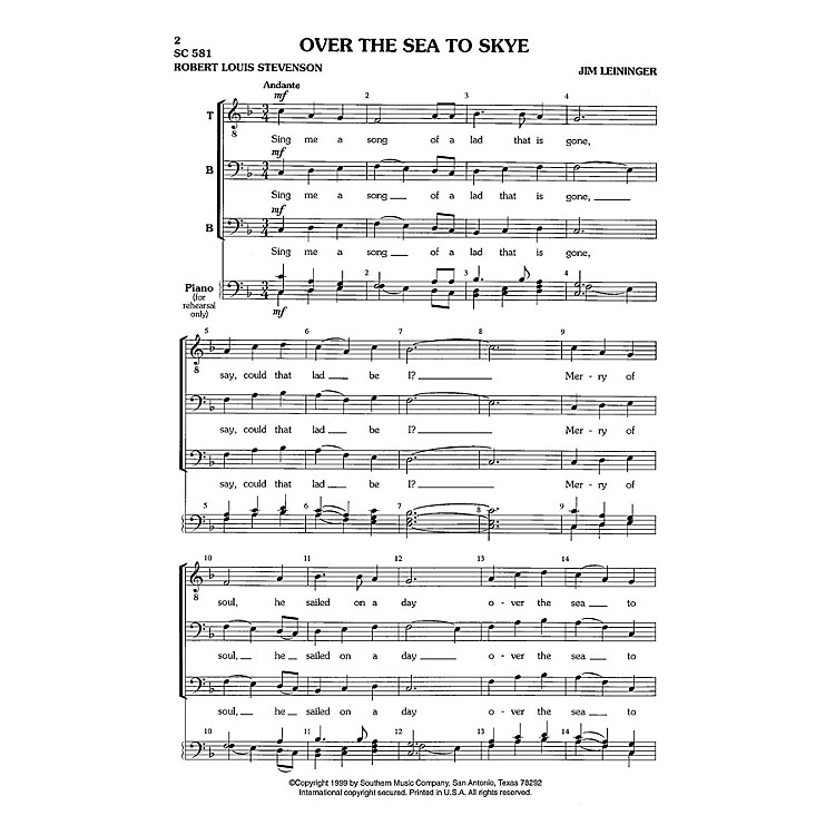 Hal Leonard Over the Sea to Skye (Choral Music/Octavo Secular Tbb) TBB Composed by Leininger, Jim