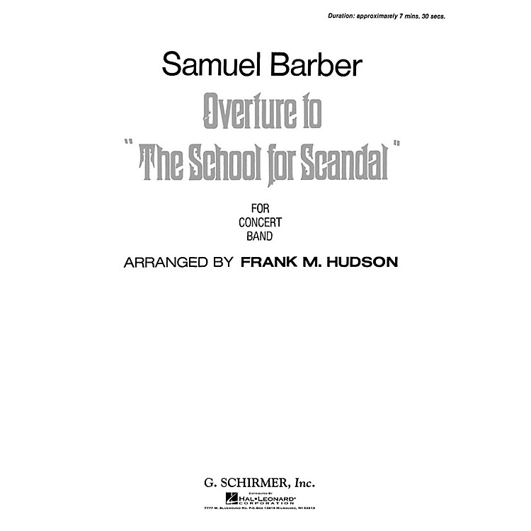 G. SchirmerOverture To School For Scandal Score *parts Avail On Rental* Concert Band Composed by S Barber