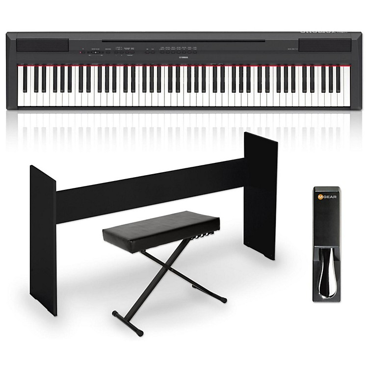 Yamaha P-115 88-Key Weighted Action Digital Piano Packages White Advanced Home Package
