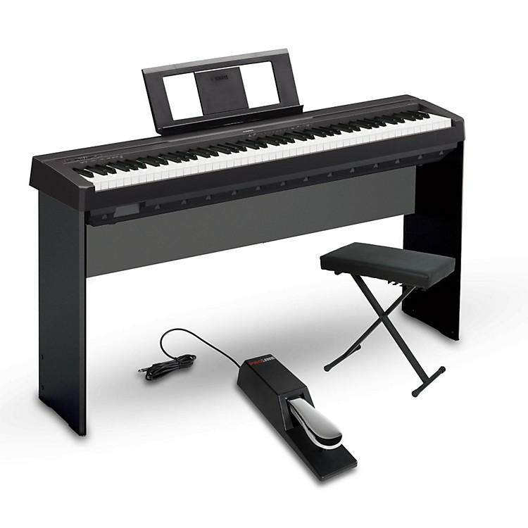 yamaha p 45 88 key weighted action digital piano package black intermediate home package music123. Black Bedroom Furniture Sets. Home Design Ideas