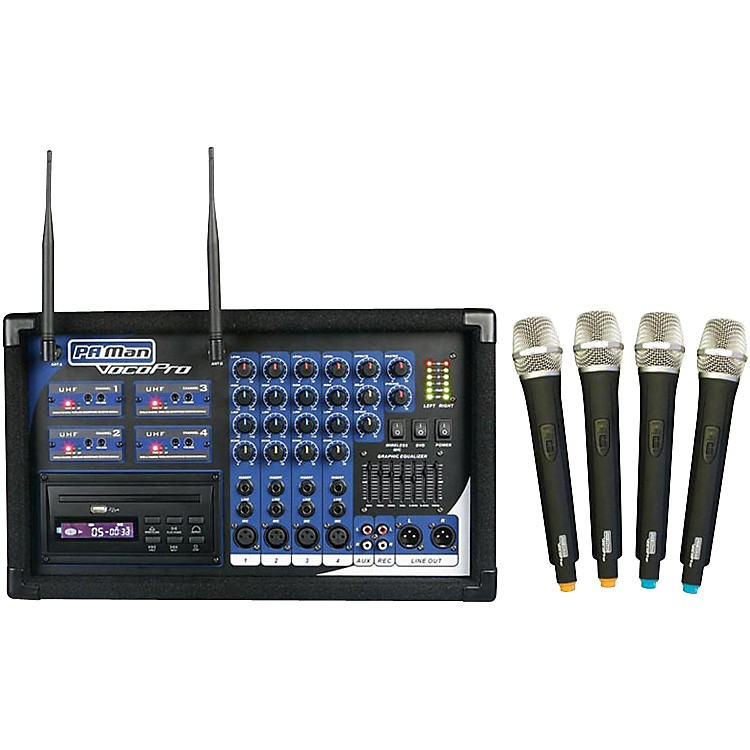 VocoPro PA-MAN Powered Mixer with Wireless Microphones