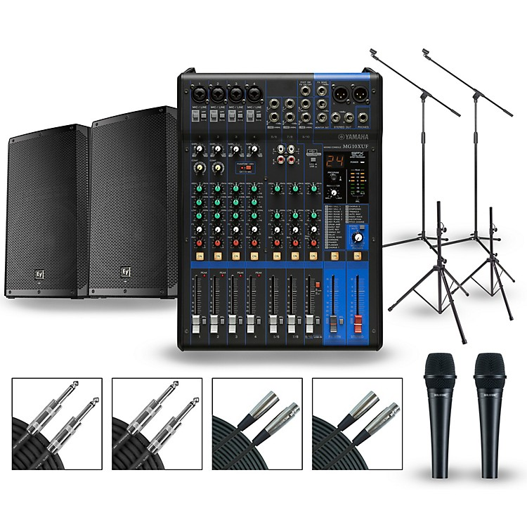 Yamaha PA Package with MG10XUF Mixer and Electro-Voice ELX200 Powered Speakers 12