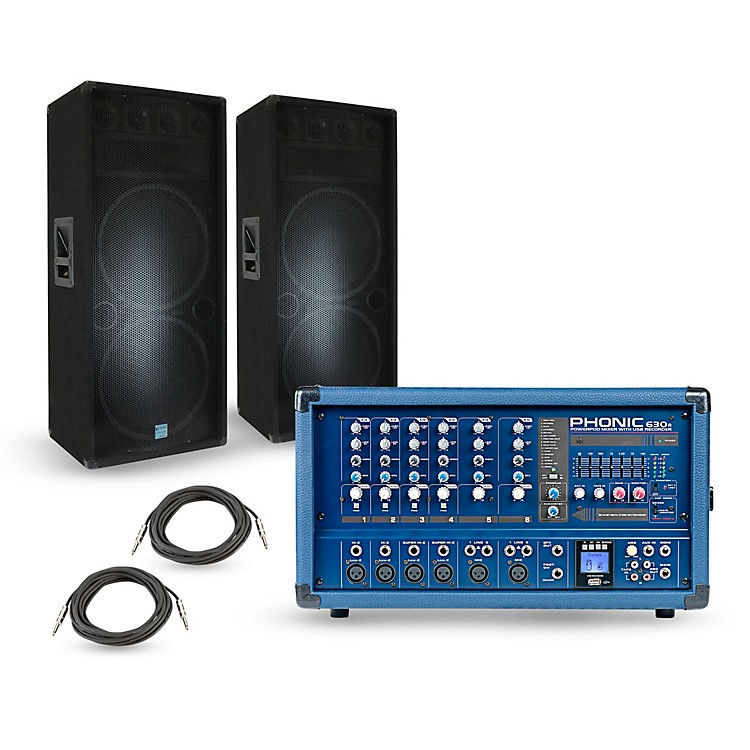 Phonic PA Package with Powerpod 630R Mixer and Gemini GSM Speakers 15