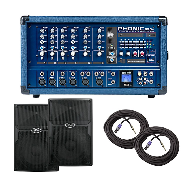 PhonicPA Package with Powerpod 630R Mixer with PVX Speakers12
