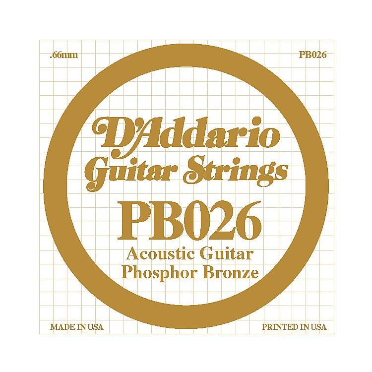 D'AddarioPB026 Phosphor Bronze Single Acoustic Guitar String
