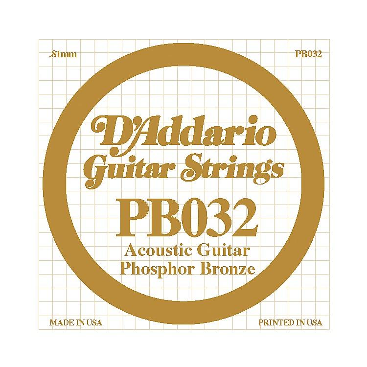 D'AddarioPB032 Phosphor Bronze Single Acoustic Guitar String