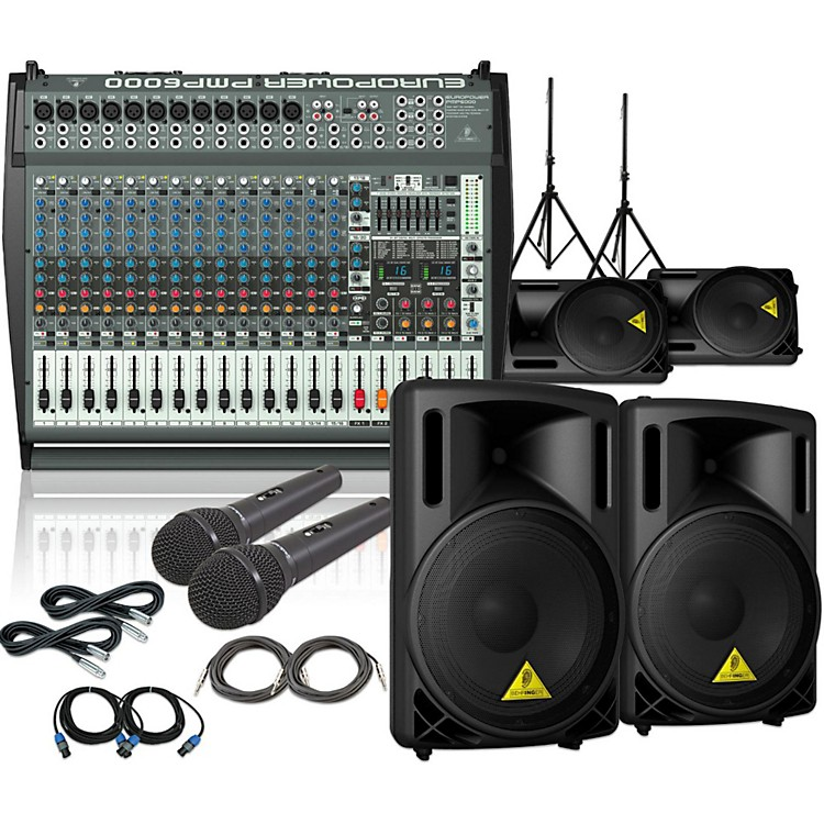Behringer PMP6000 / B212XL Mains Monitors & Mics Package