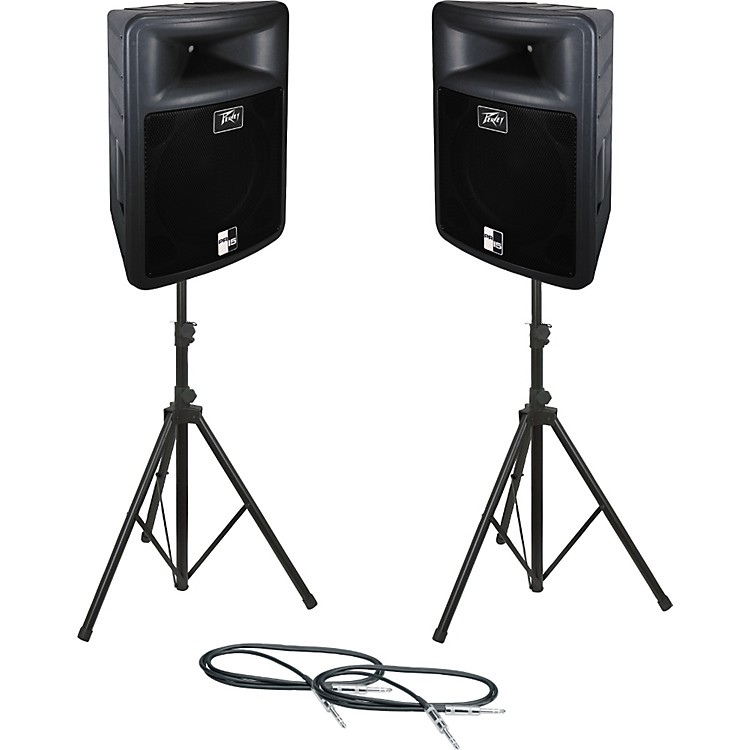 PeaveyPR 15 Speaker Pair with Stands and Cables
