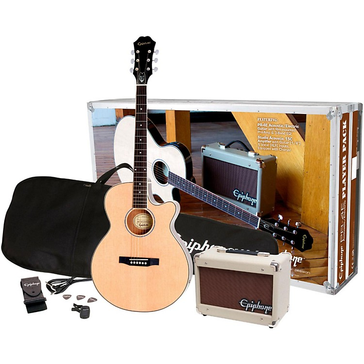 Epiphone PR-4E Acoustic-Electric Guitar Player Pack Natural