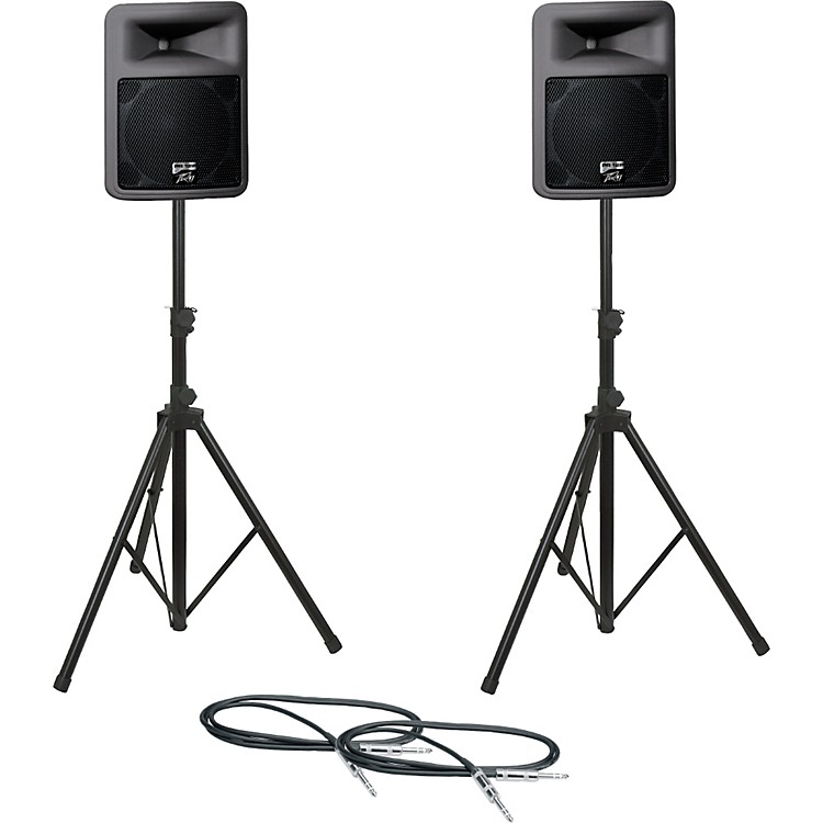 PeaveyPR12D Speaker Pair with Stands and Cables