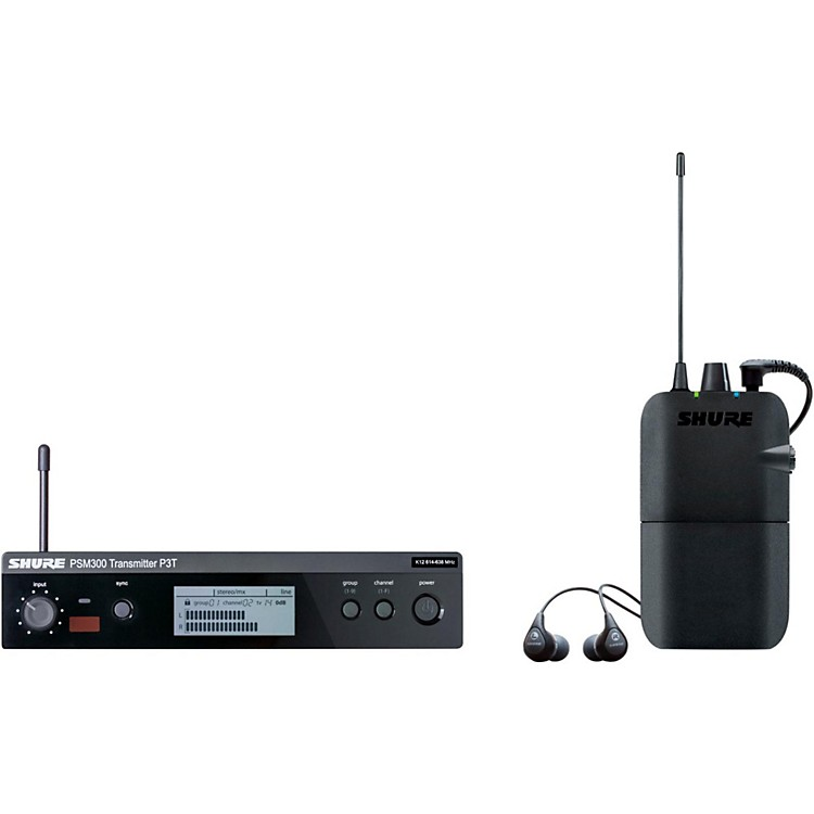 Shure PSM 300 Wireless Personal Monitoring System With SE112-GR Earphones Band J13 Gray