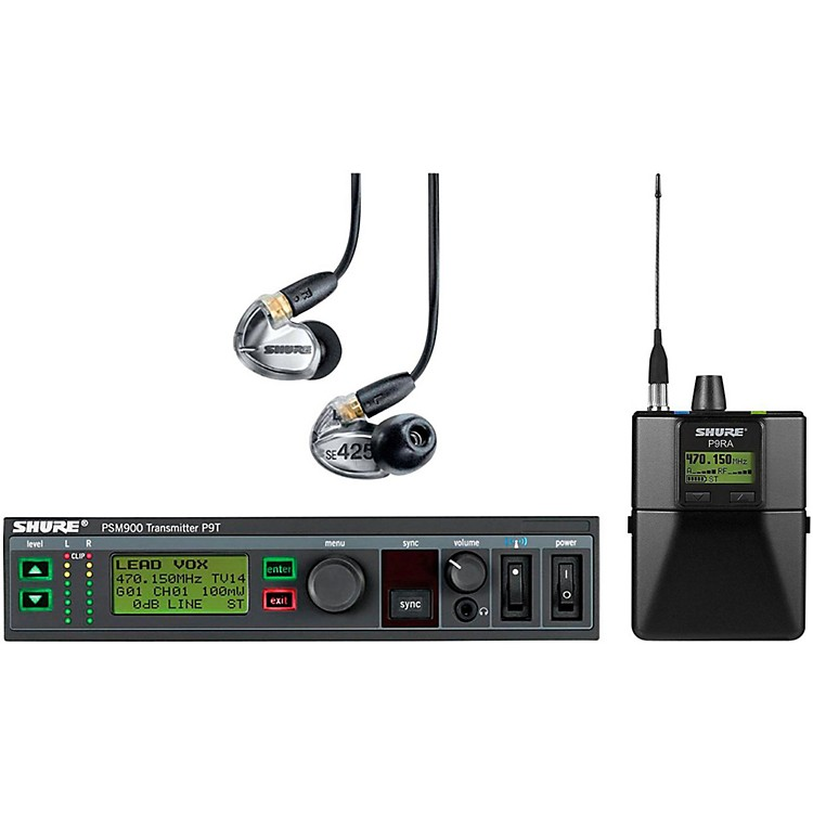 Shure PSM900 System with P9RA Rechargeable Bodypack Receiver and SE425CL Sound Isolating Earphones Band G6 Clear
