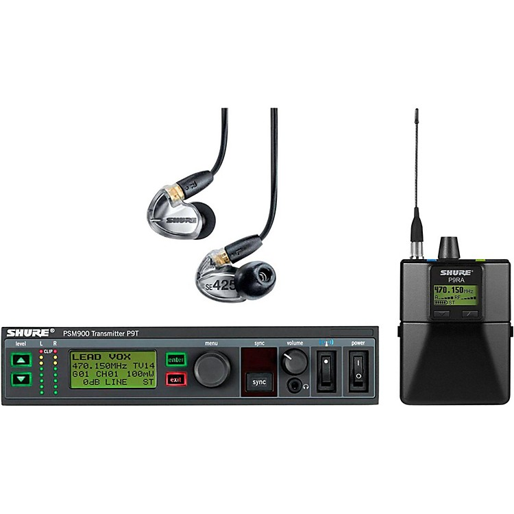 Shure PSM900 System with P9RA Rechargeable Bodypack Receiver and SE425CL Sound Isolating Earphones Band G7