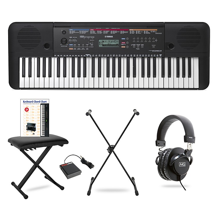 Yamaha PSR-E263 61-Key Portable Keyboard Package  Essentials
