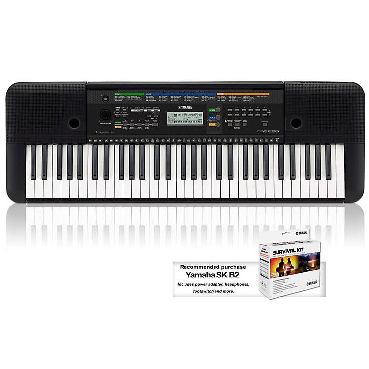Yamaha PSRE253 61-Key Portable Keyboard Keyboard with Survival Kit