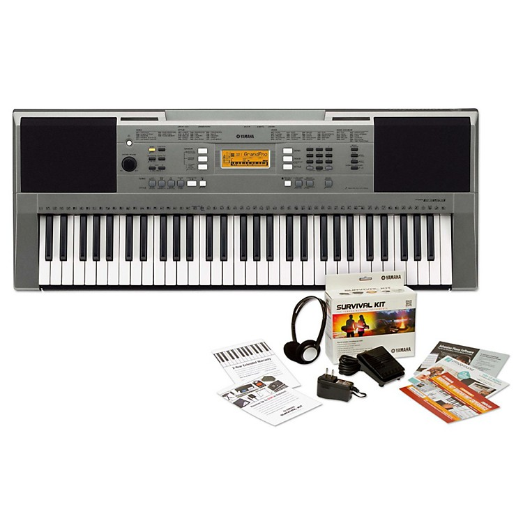 Yamaha PSRE353 61-Key Portable Keyboard Keyboard with Survival Kit