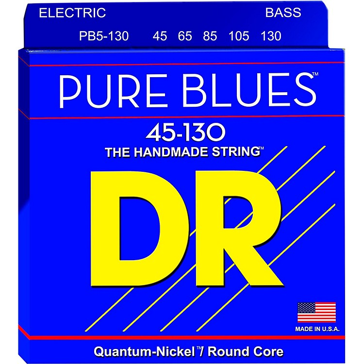 DR Strings PURE BLUES Medium 5-String Bass Strings (45-130)