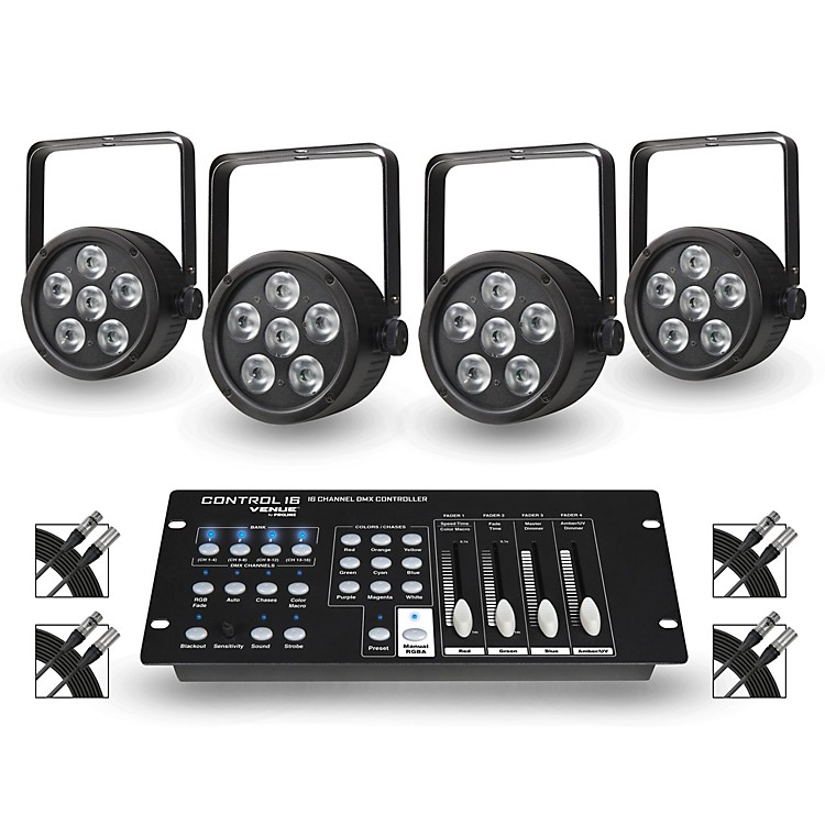 Proline Package of 4 ThinTri38 Tricolor LED Par Wash Lights with Control16 DMX Controller and Cables