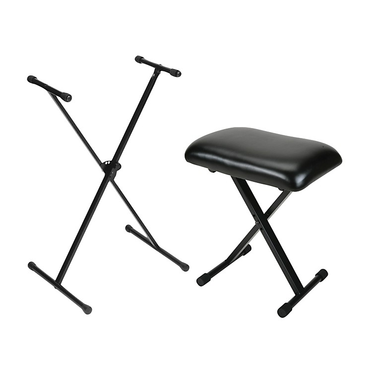 On-Stage Stands Padded Keyboard Bench With Single-Braced Stand Combo
