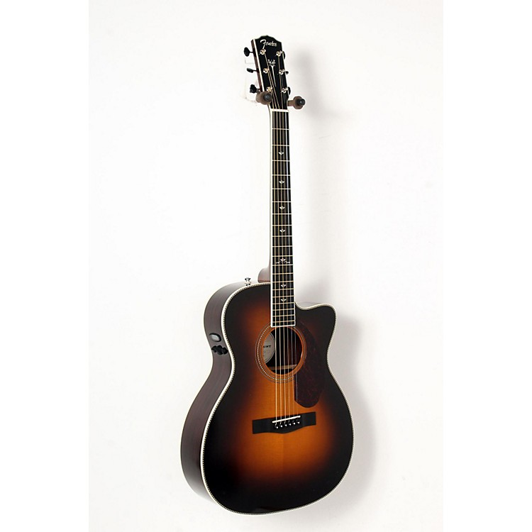 Fender Paramount Series PM-3 Deluxe Cutaway Triple-0 Acoustic-Electric Guitar Vintage Sunburst 888365835754
