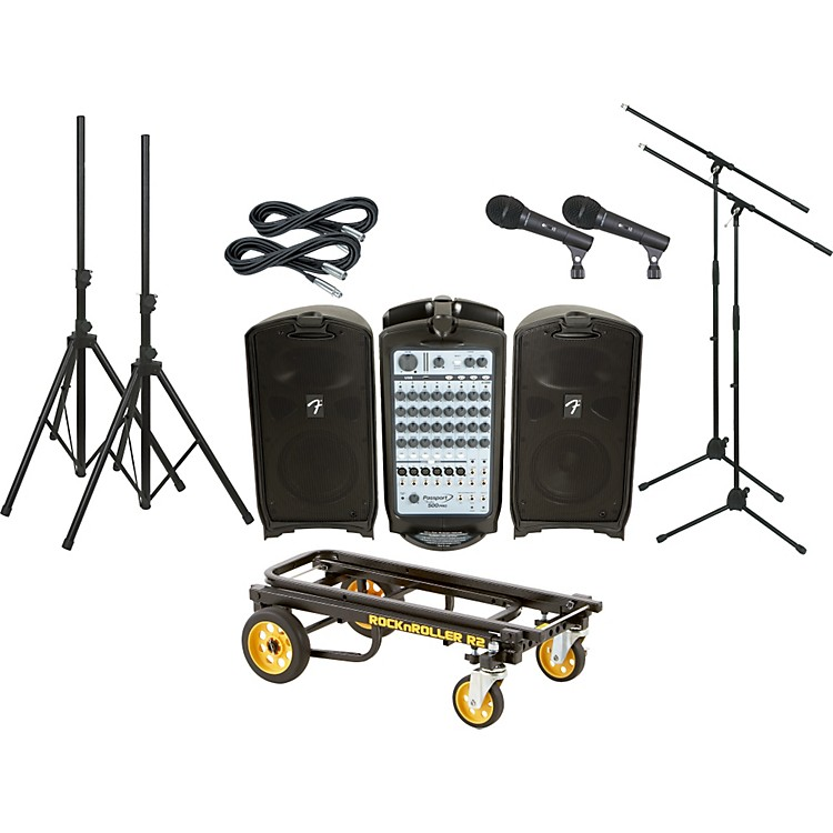 Fender Passport 500 Pro 2 Mic PA Package with Rock N Roller Cart