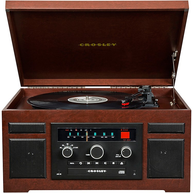 CrosleyPatriarch Entertainment Center with Bluetooth and PVC veneerMahogany