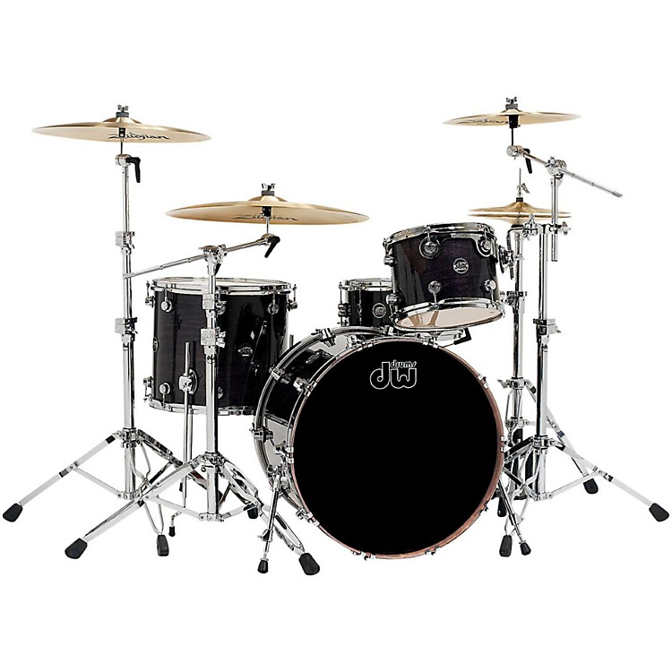 DW Performance Series 4-Piece Shell Pack Ebony Stain Lacquer with Chrome Hardware