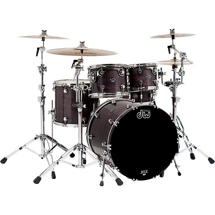 DW Performance Series 5-Piece Shell Pack Ebony Stain Lacquer with Chrome Hardware
