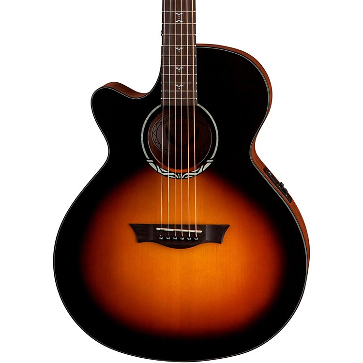 Dean Performer Plus Solid Top Left-Handed Acoustic-Electric Guitar Transparent Sunburst