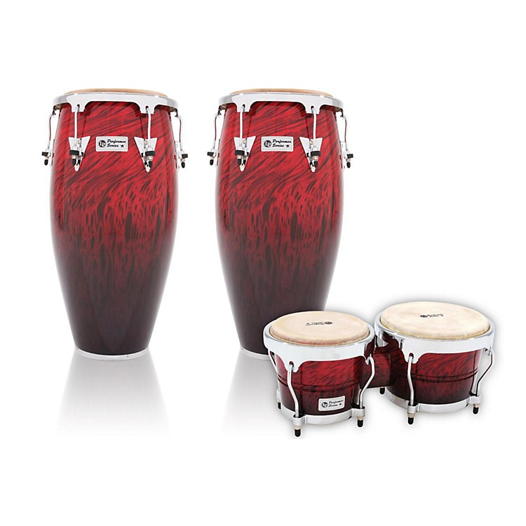 LPPerformer Series 2-Piece Conga and Bongo Set with Chrome HardwareRed Fade