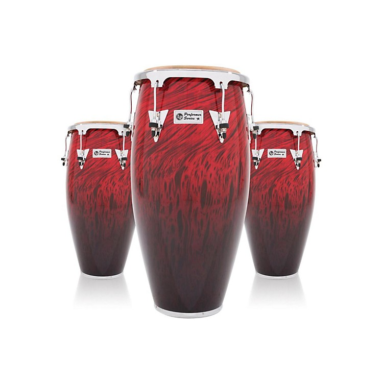 LP Performer Series 3-Piece Conga Set with Chrome Hardware Red Fade