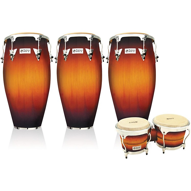 LP Performer Series 3-Piece Conga and Bongo Set with Chrome Hardware Green Fade