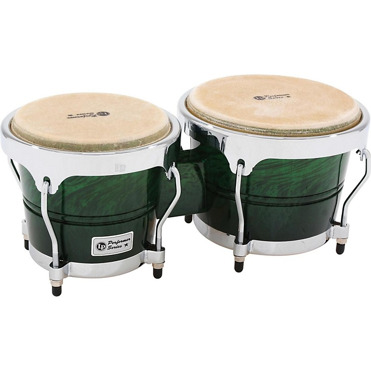 LP Performer Series Bongos with Chrome Hardware Green Fade