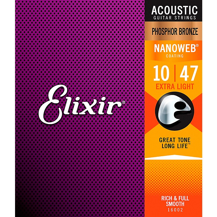 Elixir Phosphor Bronze Acoustic Guitar Strings with NANOWEB Coating, Extra Light (.010-.047)