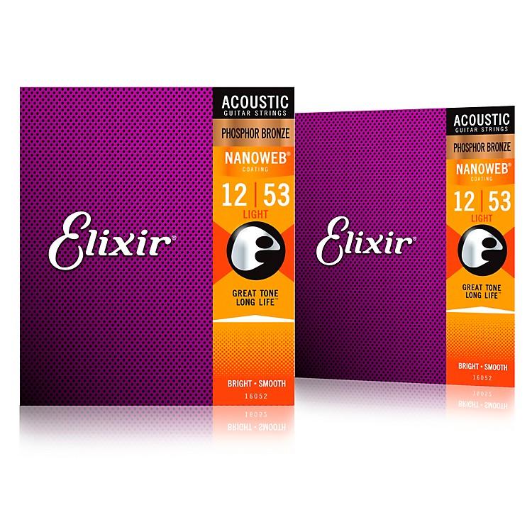 ElixirPhosphor Bronze Acoustic Guitar Strings with NANOWEB Coating, Light (.012-.053) 2-Pack