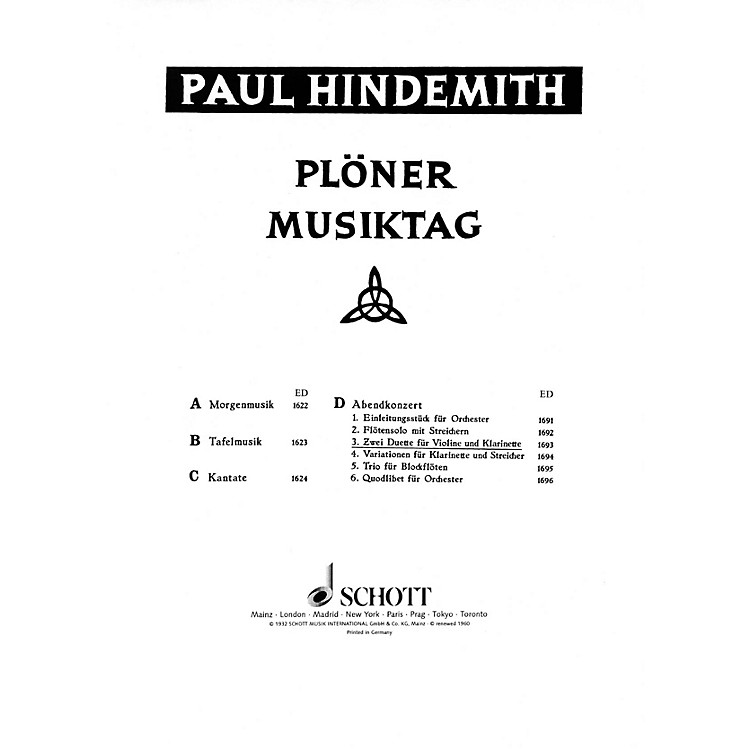 SchottPlöner Musiktag - The Evening Concert (Performance Score) Schott Series Composed by Paul Hindemith