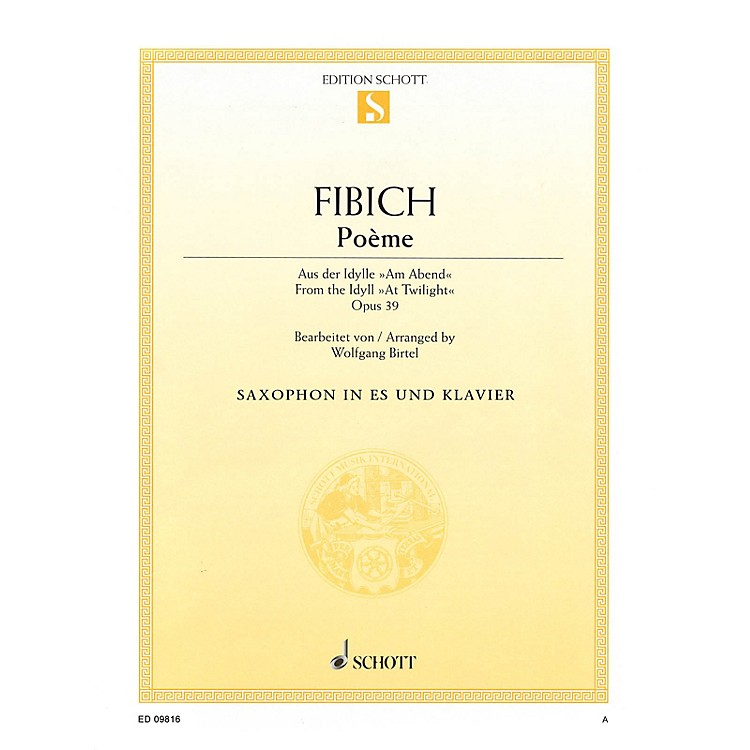 Schott Poeme (for E-flat Saxophone and Piano) Misc Series