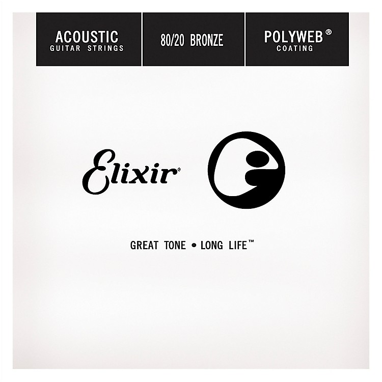 ElixirPolyweb .024 Acoustic Guitar String 4-Pack Singles