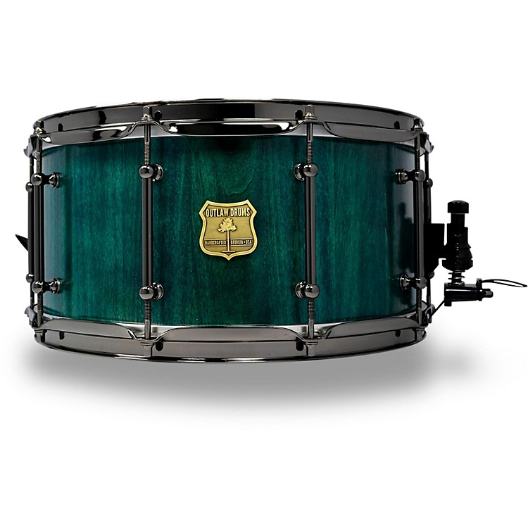 OUTLAW DRUMS Poplar Stave Snare Drum with Black Chrome Hardware 14 x 7 in. Emerald Cove