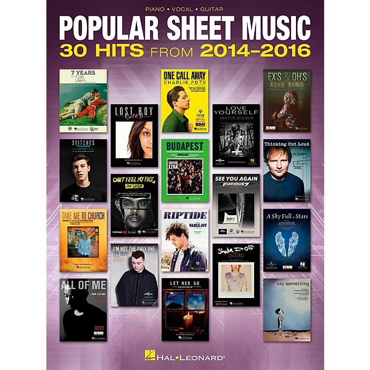 Hal LeonardPopular Sheet Music - 30 Hits from 2014-2016 Piano/Vocal/Guitar Songbook