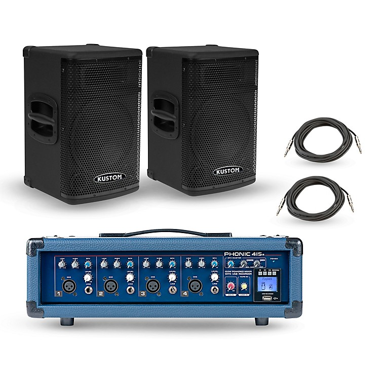 PhonicPowerpod 415R Mixer with KPX Speakers PA Package15