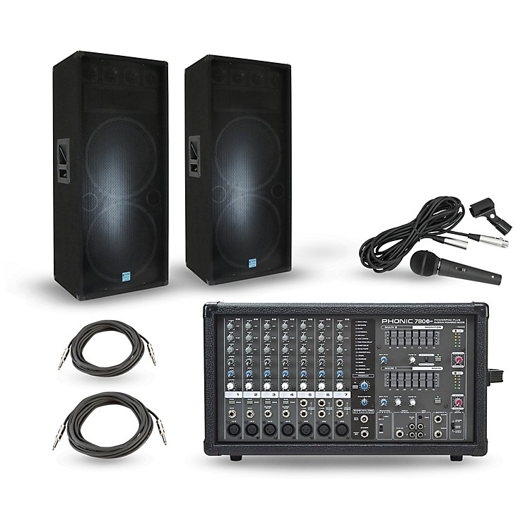 PhonicPowerpod 780 Plus Mixer with GSM Speakers PA PackageDual 15